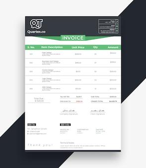 Clean invoice bill template