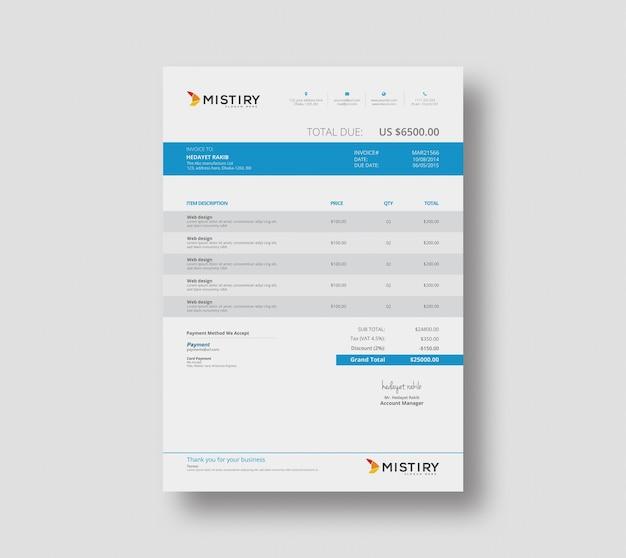 Clean invoice design template