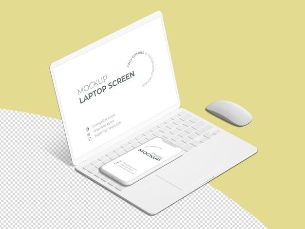 きれいな等尺性ノートパソコンの画面と電話のモックアップテンプレート