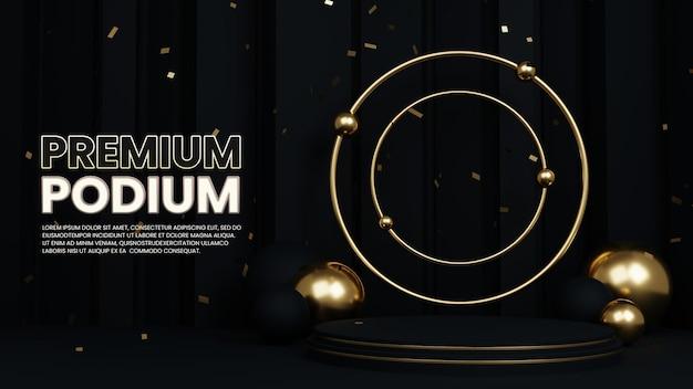 Clean luxury premium gold podium 제품 전시