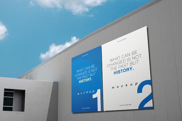 큰 벽에 깨끗한 최소 광고판 모형