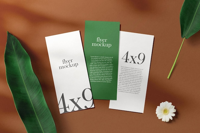Clean minimal brochure flyer on top background with leaves and flower. psd file.