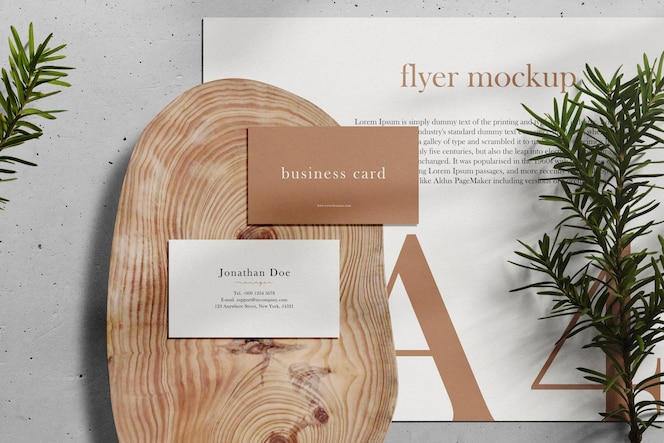 Clean minimal business card and a4 mockup on wooden plate with conifer