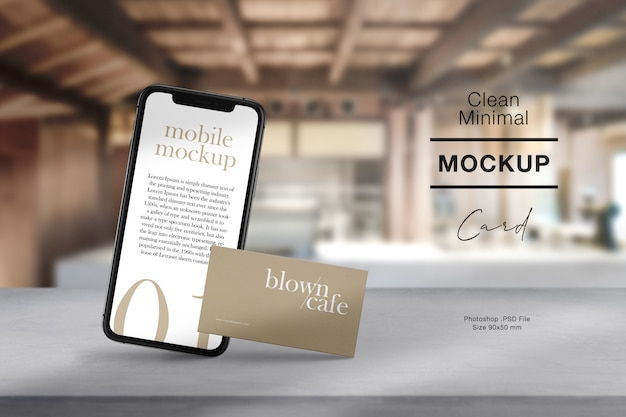 Clean minimal business card and mobile mockup on cement table with and light shadow.