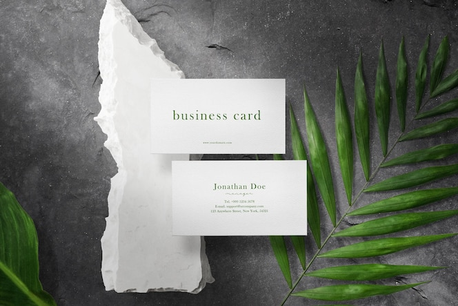 Clean minimal business card mock up on white stone with leaves