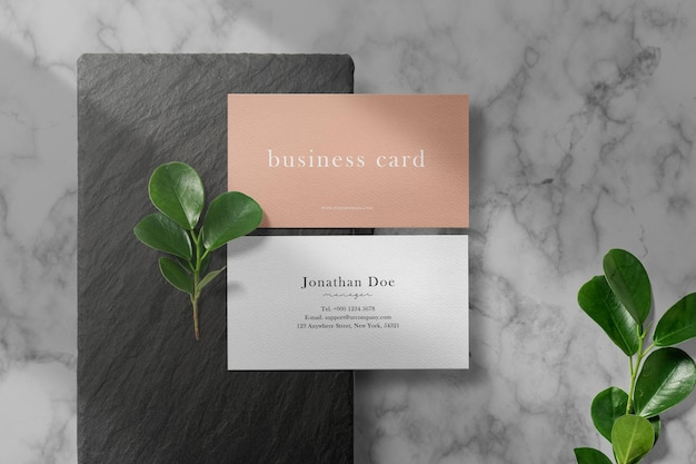 Clean minimal business card mockup on black stone with leaves.