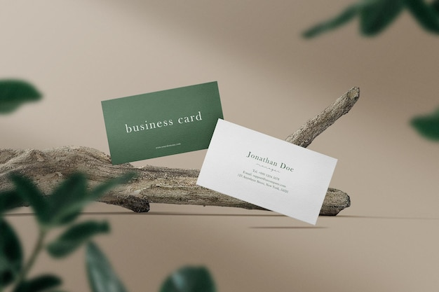 Clean minimal business card mockup on branches with leaves