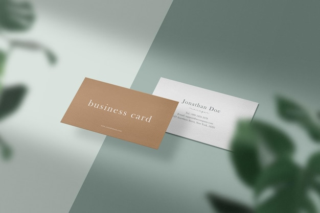 Clean minimal business card mockup on color background with leaves.