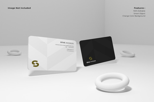 Clean minimal business card mockup floating on a plane