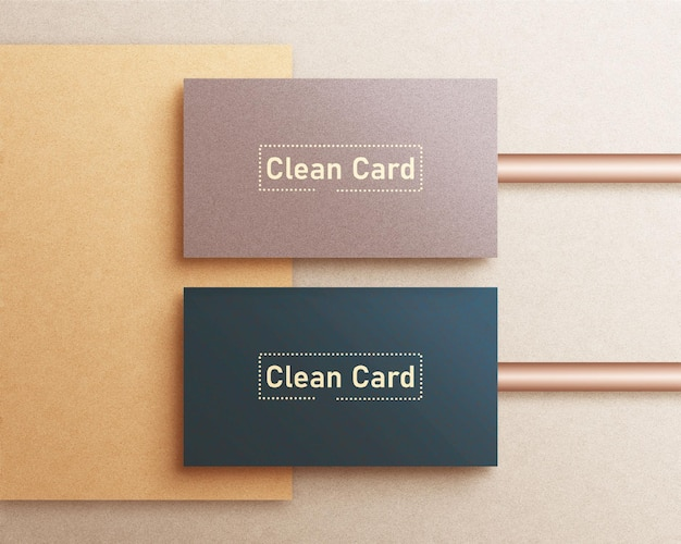 Clean minimal business card mockup and gold foil