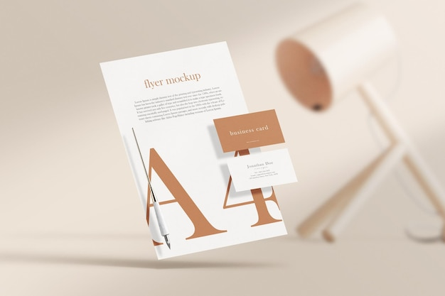 Clean minimal business card mockup on paper a4 with lamp