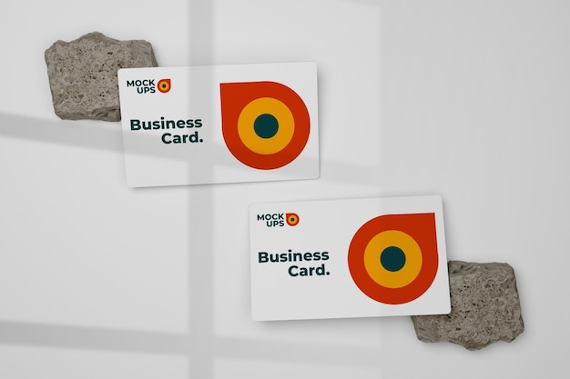 Clean and minimal business card mockup on rock