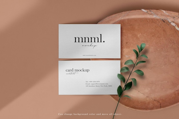 Clean minimal business card mockup on stone plate background