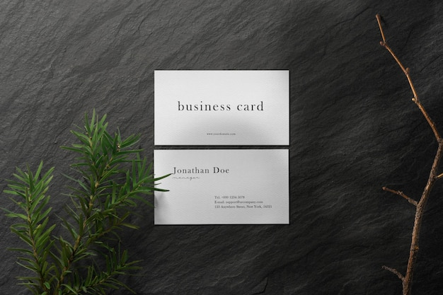 Clean minimal business card mockup on stone plate