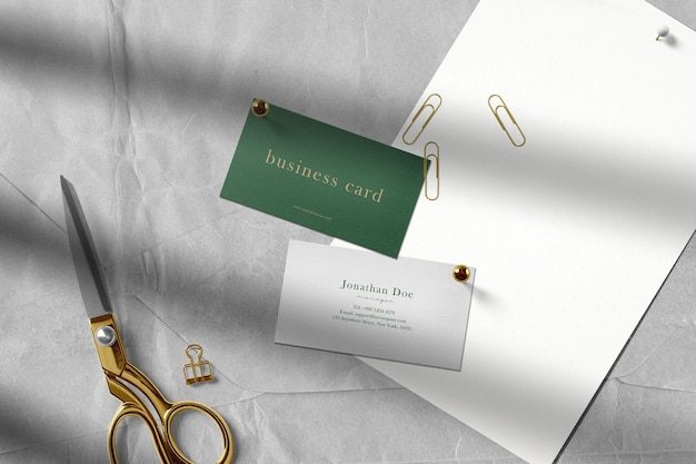 Clean minimal business card mockup on the top paper