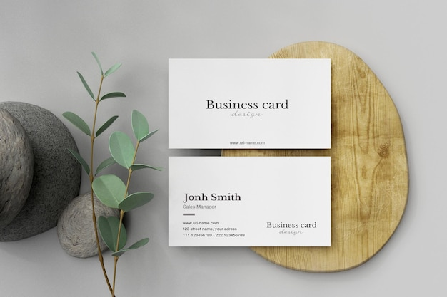 Clean minimal business card mockup on wood small plate