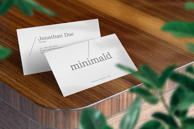 Clean minimal business card mockup