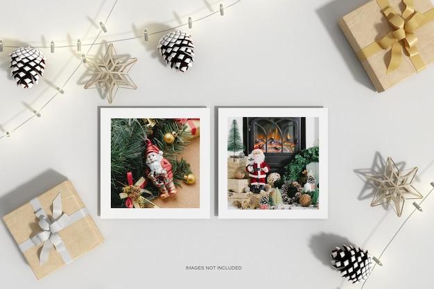 Чистая минимальная рождественская бумага с макетом подарочной коробки