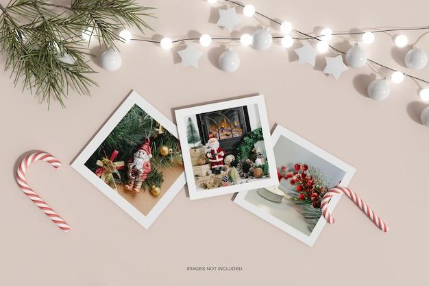 Чистая минималистичная рождественская бумага с сосновыми листьями и макетом конфет