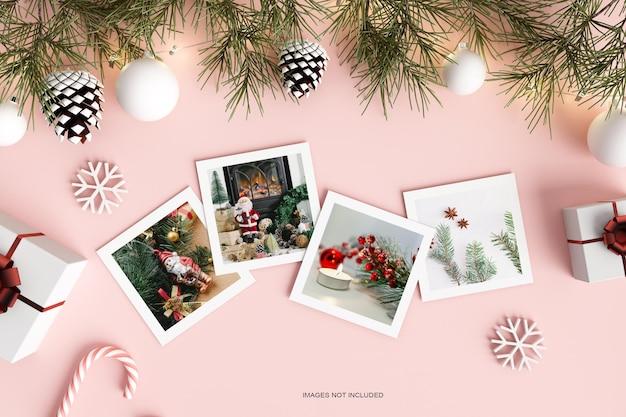Чистая минималистичная рождественская бумага с макетом из сосновых листьев