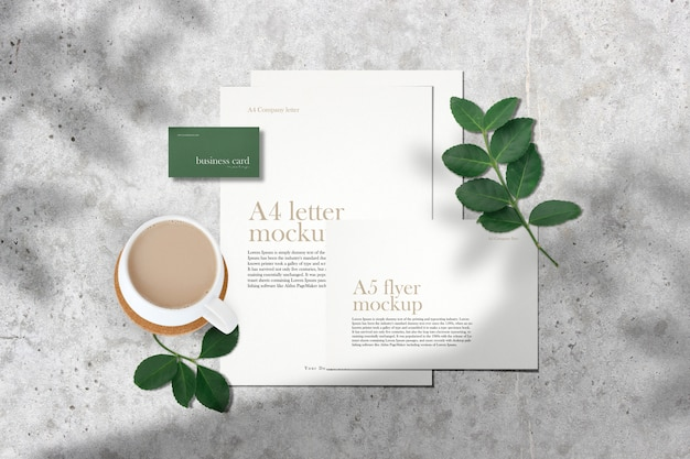 Clean minimal corporate documents mockup on grey table with green leaves shadow.