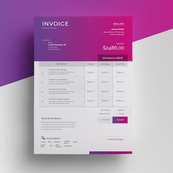 Clean minimal invoice template Premium Psd