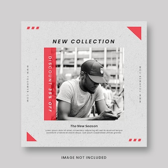 Clean minimal new collection fashion style promotion social media instagram post banner template