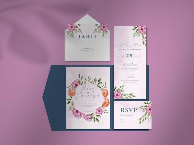美しい花柄のウェディングカードセットのデザインできれいなモックアップ。