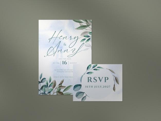 아름다운 꽃무늬 웨딩 카드 템플릿과 그림자 오버레이가 있는 깨끗한 모형