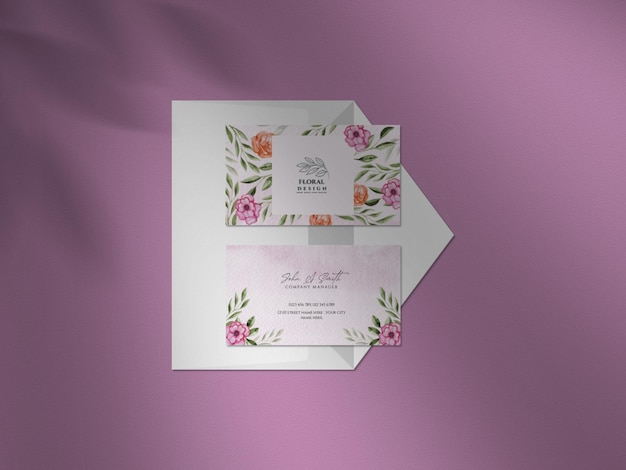 Clean mockup with beautiful watercolor floral wedding business card set and shadow overlay