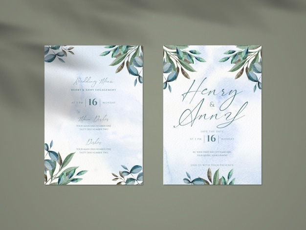 Clean mockup with botanical wedding invitation card template and shadow overlay