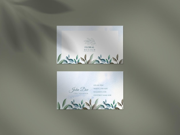 Clean mockup with floral wedding business card card set and shadow overlay