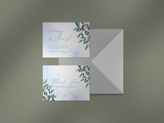 수채화 꽃과 잎 웨딩 카드 및 그림자 오버레이로 깨끗한 모형