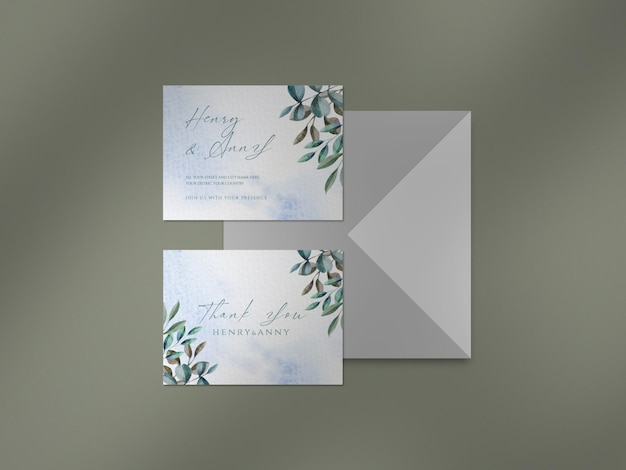 Clean mockup with watercolor floral and leaves wedding card and shadow overlay Premium Psd