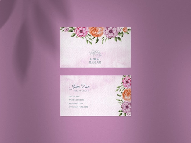 Clean mockup with watercolor postponed wedding business card set and shadow overlay