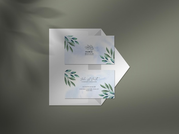 Clean mockup with watercolor wedding business card with golden glitters and shadow overlay