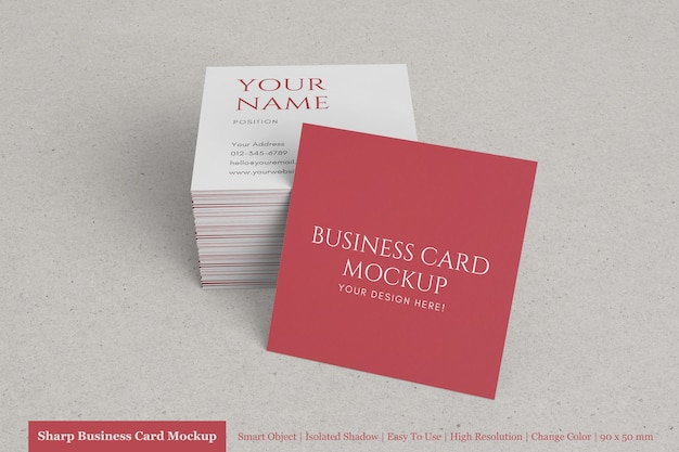 Clean and modern square business card with textured paper mock up templates