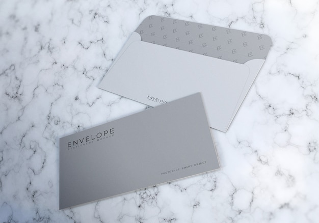 Clean monarch envelope mockup with marble texture