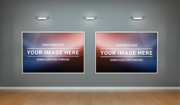 A clean museum interior with canvas mockup