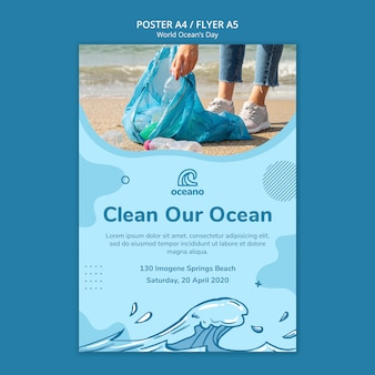 Clean our ocean poster template