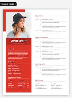 Clean professional resume cv template design Premium Psd
