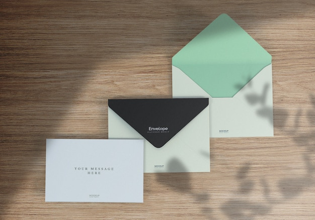 Clean realistic envelope mockup and greeting card