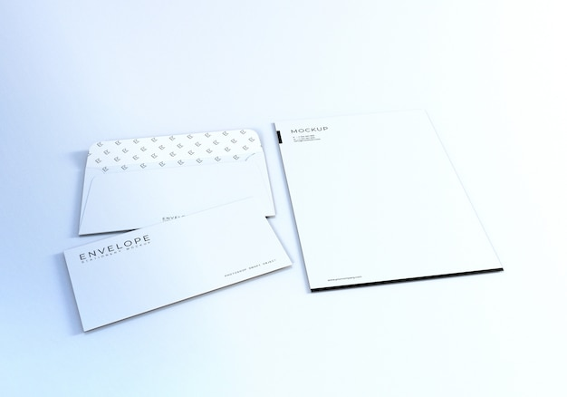 Clean realistic monarch envelope with letterhead mockup