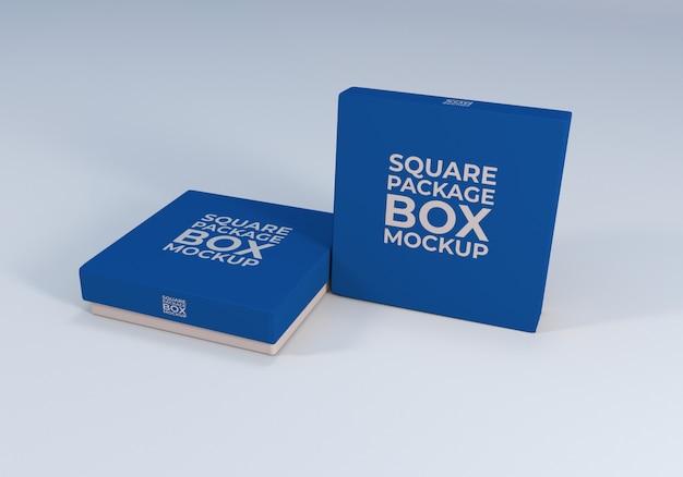 クリーンでリアルなスクエアパッケージボックスのモックアップ
