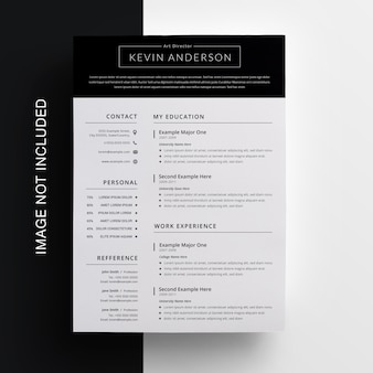 Clean resume design with topbar