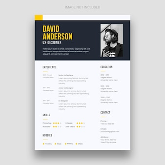 履歴書または履歴書のデザインテンプレートをクリーンアップ