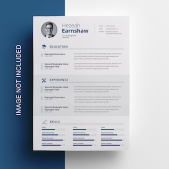 Clean resume with nevy blue accent