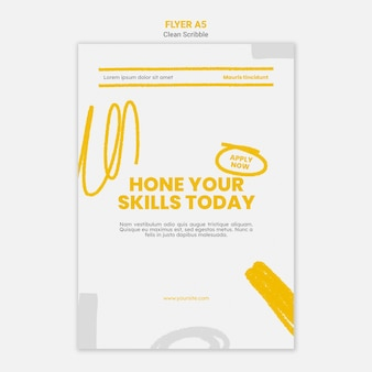 Clean scribble flyer a5 template