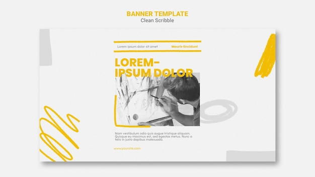 Clean scribble horizontal banner template