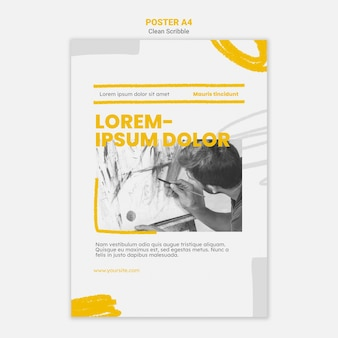 Clean scribble poster template with photo